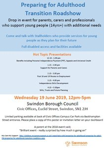 Preparing for Adulthood Transitions Roadshow - Wednesday 19th June 2.00 – 5.00 p.m